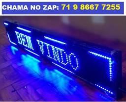 Letreiro Digital Painel de Led Azul Luminoso 1,30 x 0,20m c/ Usb 130 x 20m (Novo)