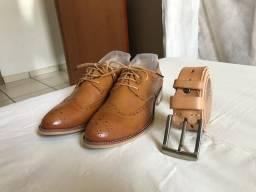 Sapato e cinto caramelo