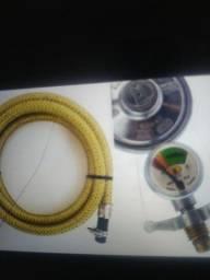 MANGUEIRA DE GAS 4 METROS AÇO INOX 3/8 COM CLIC REGULADOR DE GAS FRETE GRÁTIS