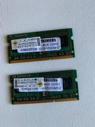 2 Memórias RAM 4 GB Kingston KVR13S9S8/4 (usadas) DDR3 1333MHZ