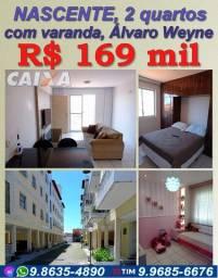 2 quartos, Nascente,varanda, 52 m², Próximo ao Frangolândia (Fco Sá), Alves de Lima