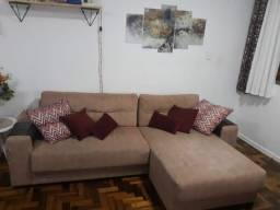 Sofá em suede com chaise longue
