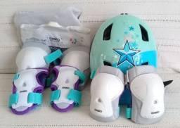 Kit proteção infantil Oxelo com capacete - NOVO