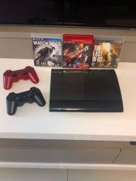 PS3 SLIM COM DOIS CONTROLES ORIGINAIS E 3 JOGOS ORIGINAIS NA CAPA + FRETE GRÁTIS!