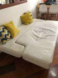 Sofá cama de couro branco