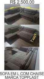 Sofa grande 2,80 x 2,50mts em excelente estado em L com chaise e extensão de assento