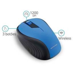 Mouse Multilaser Sem Fio 2.4ghz Preto E Azul Usb Mo215