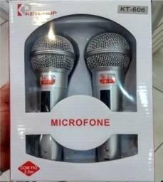 Kit Microfone Profissional Com Fio Duplo Ketchup KT-606 2 Unidades