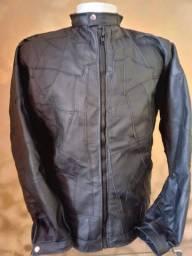 Jaqueta de couro em retalhos dia a dia da ttomas couro