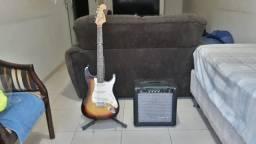 Vendo conjunto guitarra Memphis MG32 e caixa amplificada Moug GS20
