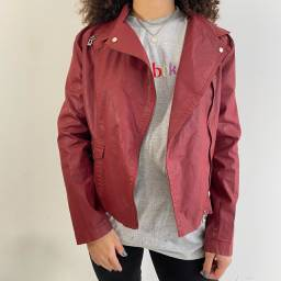 jaqueta de couro vermelho giordani