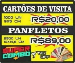 Cartao de Visita 1000un $20 / Panfletos 2500 $89 - Gráfica Rapida