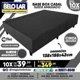 Título do anúncio: Base Box Casal Suede Amassado Cinza Escuro