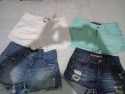 4 shorts jeans c.laycra, da tam.38, simes novos