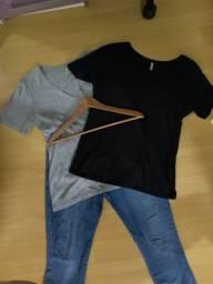 Blusas + Calça Jeans + cabide de madeira