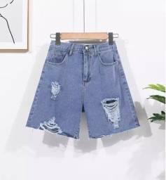 Short jeans cintura alta meia coxa