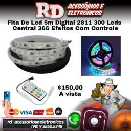 FITA DE LED DIGITAL 2811 5M 300 LEDS CENTRAL 366 EFEITOS COM CONTROLE