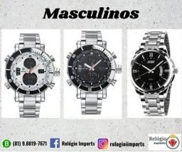 Relógios masculinos em aço inoxidável