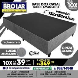 Título do anúncio: Base Box Casal Suede Amassado Cinza