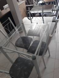 Mesa Retangular 4 Cadeiras Vidro nova