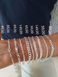 Diversos modelos de pulseiras masculinas, prata 925