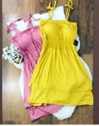 Vestido em malha Rosa e amarelo