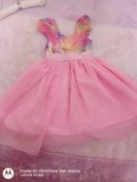 Vestido festa rosa com flores