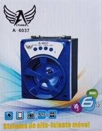Caixa De Som Bluetooth Portátil Pendrive Cartão Memória Rádio FM Usb Auxiliar Micro A-23