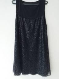 Vestido paetês preto