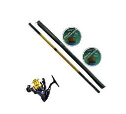Kit de Pesca 1 Vara Retratil - 1 Vara c/ Molinete - 02x 100m Linha Multifilamento