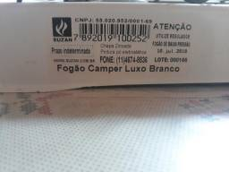 Fogão Fogareiro 2 Bocas Para Camping Portátil A Gás Jolli BRANCO