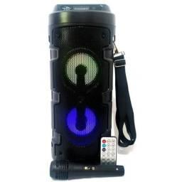 Caixa De Som Fm Via Bluetooth - Microfone, Rádio, Controle Remoto e Alça para os Ombros