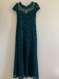 Vestido longo verde com brilho