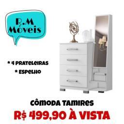 Cômoda Tamires 4 gavetas e espelho