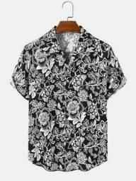 Camisa de Botão Masculina Floral Preta - Tamanho GG