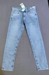Título do anúncio: Calça Zara Jeans Slim Azul-Claro Tam 42