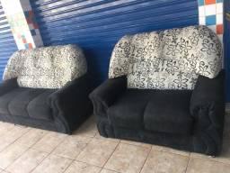 Título do anúncio: Jogo de sofá preto 3 e 2 lugares
