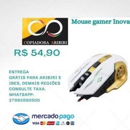 Mouse Gamer Inova Branco e Dourado