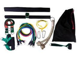 Kit 11 Peças Elásticos Completo com barra e corda Extensores Musculação CrossFit Funcional