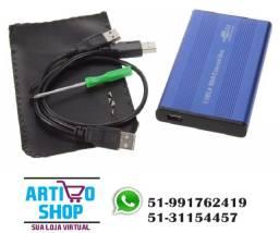 Título do anúncio: Case Aluminio Hd Externo 2,5 Sata Slim Gaveta Plug Play Fast