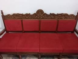Título do anúncio: Jogo de sofá antigo madeira maciça