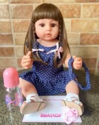 Linda Boneca Bebê Reborn toda em Silicone Realista 55cm Nova Original (aceito cartão