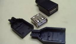 Título do anúncio: COD-CP49 KIT 2 Unidades Conector Jack Plugue Usb Fêmea 4 Pinos Arduino Automação Robo