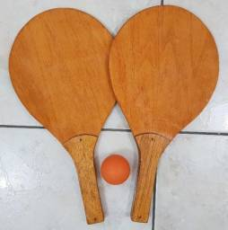 Kit de Frescobol com 2 Raquetes + 1 Bolinha