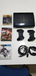 Playstation 3 Super Slim Bloqueado 2 Controles Originais hd250 + 3 jogos