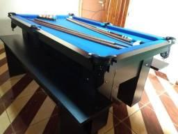Mesa de Sinuca e Bilhar Cor Preta Tecido Azul Mod. BGPS3763
