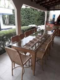 Mesa de Jantar com Tampo de vidro ( Frete grátis )