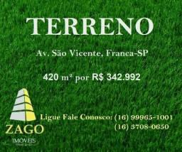 Terreno na Avenida São Vicente, Franca-SP por R$ 340.000