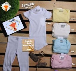 Kit Roupa De Bebê 3 Conj Body + Mijão Canelados Super Macio