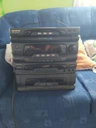 Rádio + caixa de som + toca disco + fita